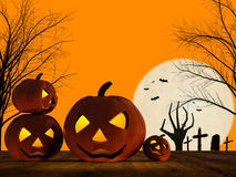 Halloween pumpkin and zombie hand rising Royalty Free Stock Photos