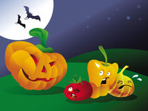 Halloween pumpking. Illustration Halloween pumpkin scaring other vegetables Royalty Free Stock Photo