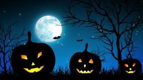 Halloween Pumpkings in luna blu-chiaro illustrazione di stock