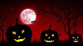 Halloween Pumpkings in luna rosso-chiaro illustrazione di stock