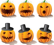 Halloween pumpkins. Emotions, layered and grouped illustration for easy editing Royalty Free Stock Images