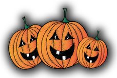 Halloween pumpkins. Three halloween pumpkins in orange, green, and black with scribble effect Royalty Free Stock Images