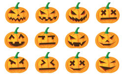 Halloween pumpkins. Different expressions of halloween pumpkins Stock Photo
