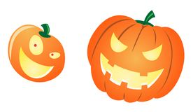 Halloween Pumpkins. Carved to look like scary faces Vector Illustration