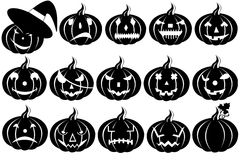 Halloween pumpkins. Silhouette isolated on white Stock Photos
