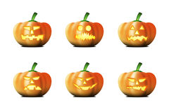 Halloween pumpkins. Six different halloween pumpkins on white background Stock Images