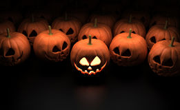 Halloween Pumpkins. Isolated on Dark Background Stock Photography