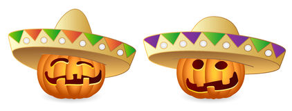 Halloween Pumpkins. And Sombrero; Mexican Style; Vector Illustration Royalty Free Stock Photography