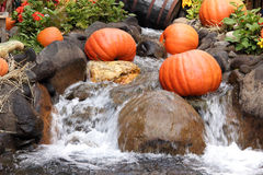 Halloween pumpkins. Halloween decoration with pumpkins and water fountain Stock Photography