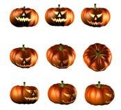 Halloween pumpkins. 3d illustration of Halloween pumpkins in different setup stock illustration