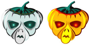 Halloween pumpkins, alien masks, vector illustration Royalty Free Stock Photo