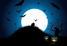 Halloween Pumpkins And Dark Castle On Blue Moon Background, Illustration. Royalty Free Stock Image