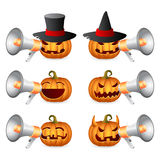 Halloween Pumpkins ang megaphone. Halloween Pumpkins shouting in megaphone; Horror Persons; Emotion Variation; Vector Icon Set Royalty Free Stock Photos