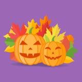 Halloween pumpkins and autumn leaves. Vector illustration. Halloween pumpkins and autumn leaves on purple background. Vector illustration Royalty Free Stock Photos