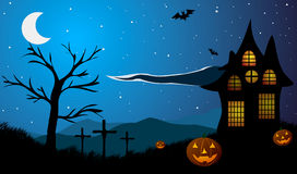 Halloween. Pumpkins on the background of old house, tree, crosses and mountains. Pumpkins on the background of old house, tree, crosses and mountains Stock Photography
