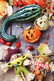 Halloween pumpkins background. Halloween pumpkins and other decorations background Stock Images