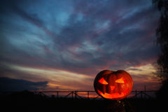 Halloween pumpkins on bakground sunset Royalty Free Stock Photography
