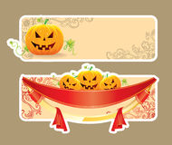 Halloween pumpkins banner Royalty Free Stock Photos