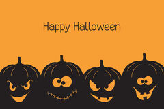 Halloween pumpkins. Banner with spooky and crazy Halloween pumpkins Royalty Free Stock Photo