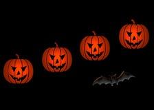 Halloween pumpkins and bat Royalty Free Stock Photos