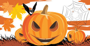 Halloween pumpkins, bat and spiders Royalty Free Stock Photography