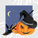 Halloween pumpkins, bat and spiders. Holiday frame Stock Image