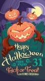 Halloween pumpkins. With bat wings on graveyard background stock illustration