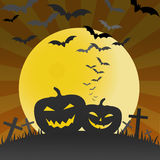 Halloween pumpkins and bats background Royalty Free Stock Image