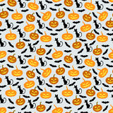 Halloween pumpkins, bats and cats pattern seamless Stock Image