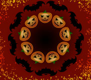 Halloween pumpkins and bats in a circle Royalty Free Stock Photo