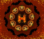Halloween pumpkins and bats in a circle Stock Photo