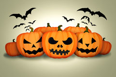 Halloween Pumpkins Bats White Background Stock Image