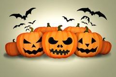 Halloween Pumpkins Bats White Background. Digital Art Stock Image