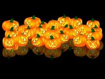 Halloween pumpkins on black background Royalty Free Stock Photo