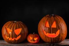 Halloween pumpkins on black stock photography