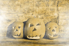 Halloween pumpkins with board Stock Images