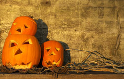 Halloween pumpkins with board Royalty Free Stock Photo
