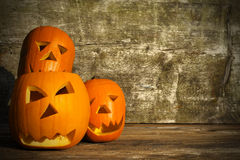 Halloween pumpkins with board Royalty Free Stock Images