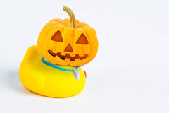Halloween Pumpkins , body of  bath duck on white background Royalty Free Stock Images