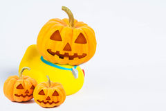 Halloween Pumpkins , body of  bath duck on white background Stock Images