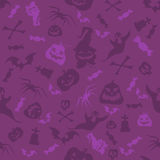 Halloween pumpkins, bones, bats and skulls seamless pattern. Violet vector illustration in cartoon style for holiday poster, banne Royalty Free Stock Photos