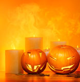 Halloween pumpkins border Stock Photos