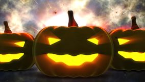 Halloween pumpkins with candle light inside Royalty Free Stock Photography
