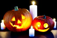 Halloween pumpkins and candles Royalty Free Stock Photography