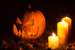 Halloween pumpkins with candles Royalty Free Stock Photography