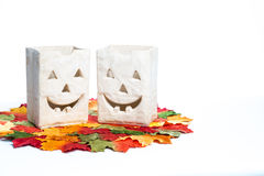 Halloween Pumpkins and Candles Stock Images