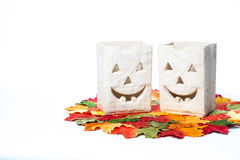 Halloween Pumpkins and Candles Royalty Free Stock Photo