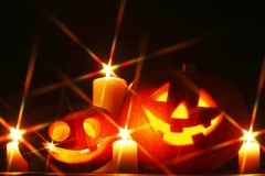 Halloween pumpkins and candles Stock Photography