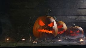 Halloween pumpkins and candles stock footage