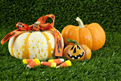 Halloween Pumpkins and Candy Royalty Free Stock Photo